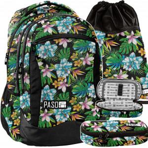 Černá školní taška s květinovým motivem