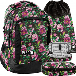 Černý školní set s růžovými květy