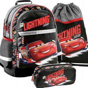 Krásná školní taška v troj kombinaci s motivem CARS