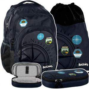 Moderní třídílná školní taška pro chlapce TRAVEL