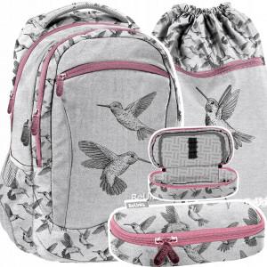 Krásná trojčasťová dívčí školní taška s ptáčky