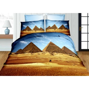 Modro hnědý povlak na postele s 3D potiskem pyramid