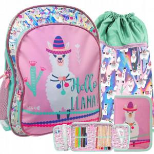 Dívčí školní taška třídílná s motivem LAMA