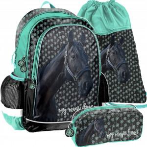 Třídílný set dívčí školní tašky MAGIC HORSE