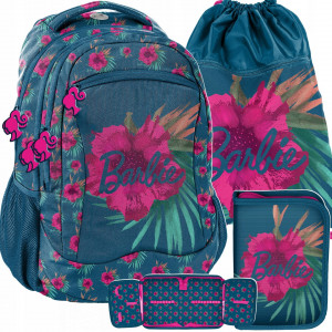 Krásná třídílná sada dívčí školní tašky BARBIE