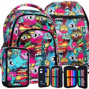 Stylová dívčí školní taška v trojsadě s motivem MONSTERS