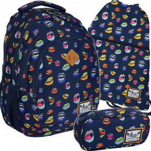 Modrá dívčí školní taška v trojsada z kolekce KISS