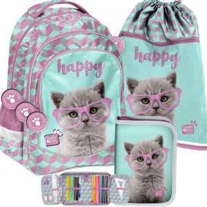 Úžasná dívčí školní taška v trojkombinaci s kotětem