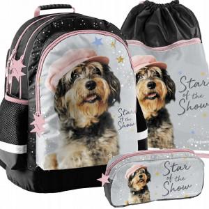 Dívčí školní taška v trojsadě se zábavným pejskem