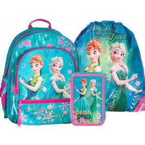 Dívčí školní taška v trojsadě s motivem FROZEN