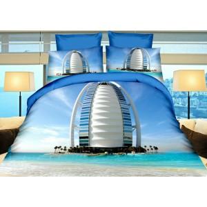 Modré povlečení na postel s megastavby