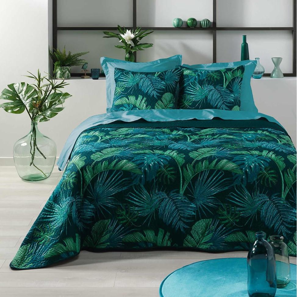 Luxusní zelený přehoz s motivem listů 220 x 240 cm