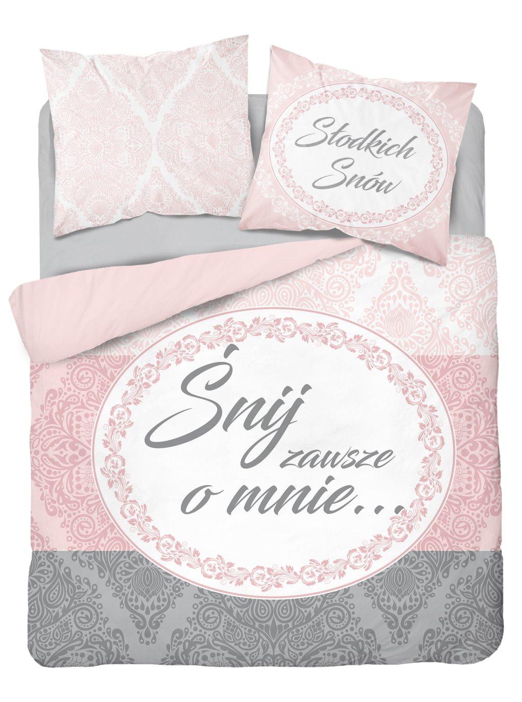 Krásně pohodlné růžově šedé bavlněné povlečení s nápisem