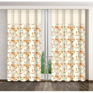 Interiérový moderní závěs se vzorem v krémové béžovo pomerančové barvě