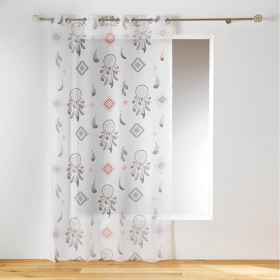 Bílá záclona na kruhy s motivem lapač snů 140 x 240 cm