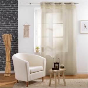 Úžasná béžová záclona na kruhy a třásněmi 140 x 240 cm