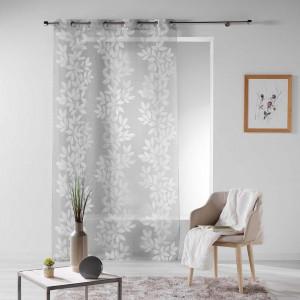 Krásná šedá záclona na kruhy s bílými listy 140 x 280 cm