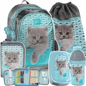 Pětidílná školní taška pro holčičku s kotětem