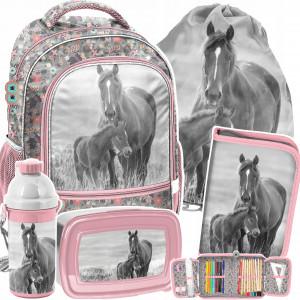 Školní růžová pětidílná květinová taška pro milovnici koní