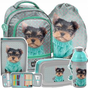 Krásná zelená päťčasťová školní taška s pejskem YORK
