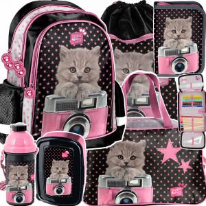 Dívčí krásný růžový šestidílný školní batoh CAT