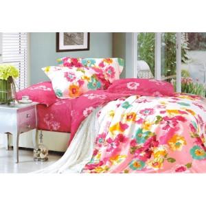 Růžový ložní povlak vzor barevné květy