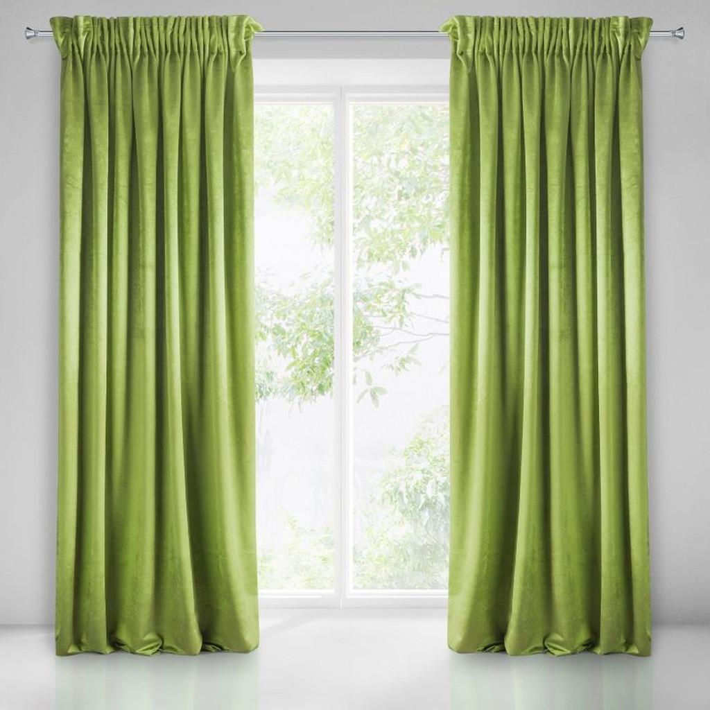 Interierové jednofarebné zavesy zelenej farby