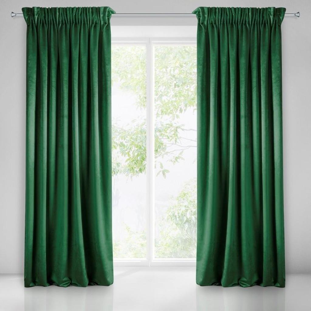 Módní zelené jednobarevné závěsy