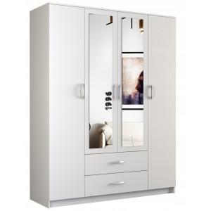Bílá skříň s úložným prostorem a zrcadlem