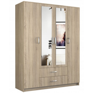 Moderní skříň s úložným prostorem a zrcadlem dub sonoma
