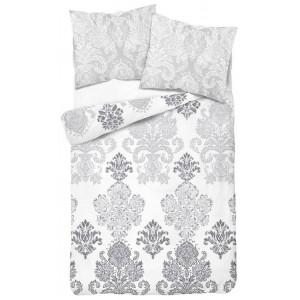 Pohodlné bílé bavlněné povlečení s vintage šedými ornamenty
