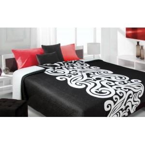 moderní a luxusní oboustranný přehoz na postel černý s bílým vzorem