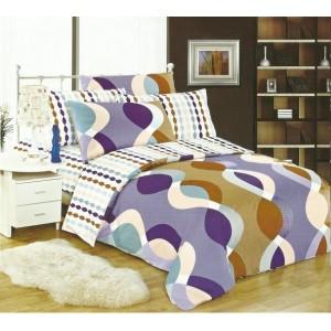Bílo fialový ložní povlak s abstraktními vzory