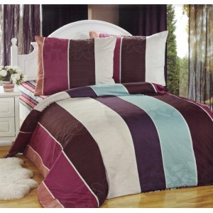Pruhovaný povlak na postel hnědo tyrkysově bordově béžové barvy