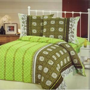Zelený povlak na postele s pruhy a kruhy