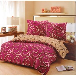Bordově hnědý povlak na postele s abstraktními motivy