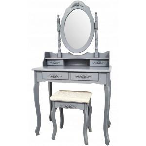 Kvalitní toaletní stolek se židlí v šedé barvě