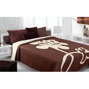 Moderní a luxusní oboustranný přehoz na postel hnědý s bílým květem