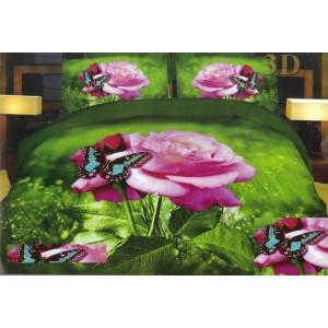 Růžová růže s motýlem ložní povlak zelené barvy