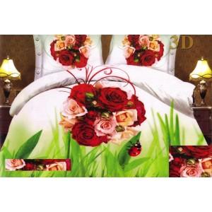 Bílo zelený povlak na postel s kyticí růží