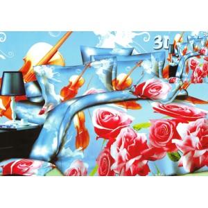 Růžová růže modrý ložní povlak