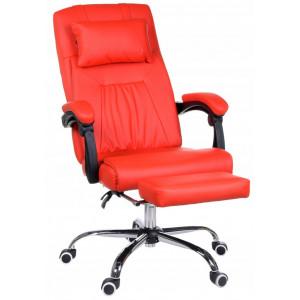 Červené kancelářské křeslo s masážním polštářkem