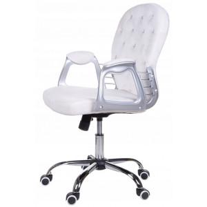 Otočné kancelářské křeslo v bílé barvě