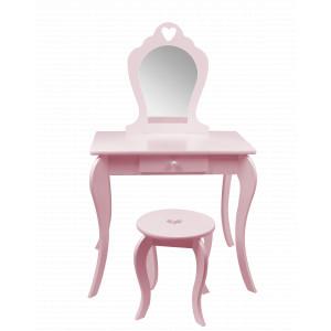 Růžový dětský toaletní stolek s taburetkou