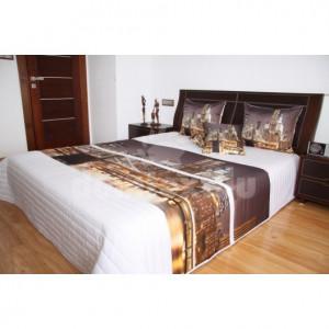 Přehoz na postel bílé barvy s motivem večerního města