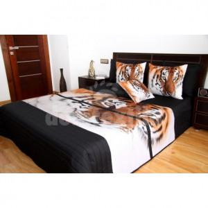 Přehozy na postele černé barvy s tygrem