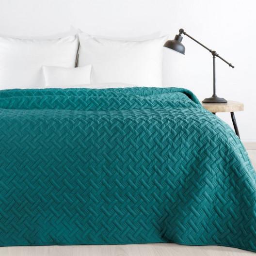 Krásný jednobarevný přehoz na postel v tyrkysové barvě