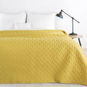 Krásný jednobarevný přehoz na postel v žluté barvě