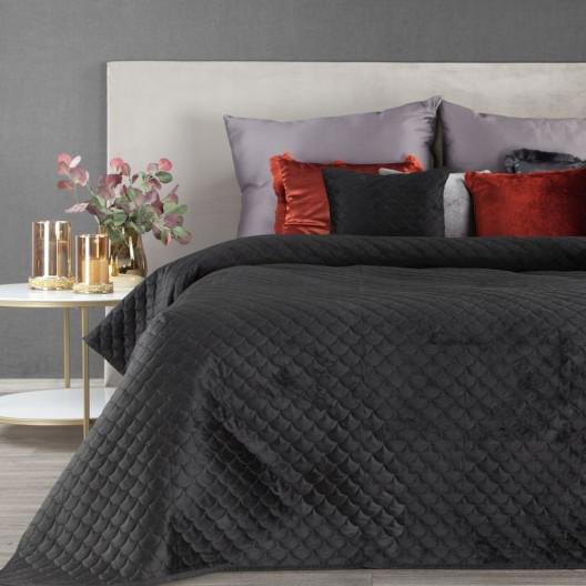 Luxusní černý prošívaný přehoz na postel