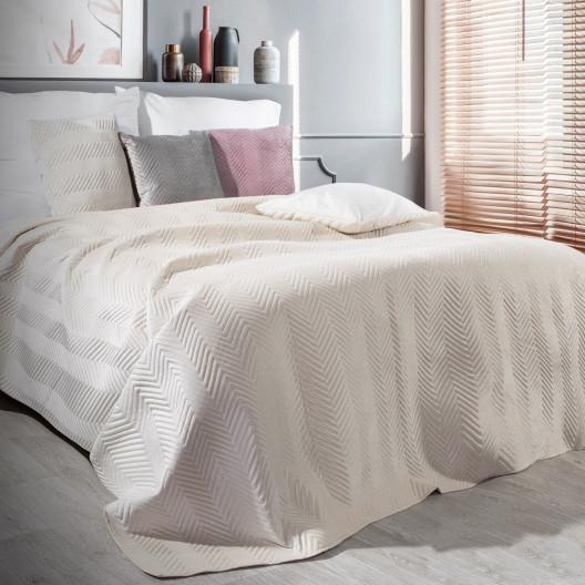 Kvalitní oboustranný přehoz na postel krémové barvy